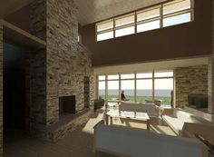 Modern Sustainable Interior From Entry - Mountain Modern - Custom Home by EVstudio