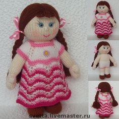 "Купить ""Кукла Анюта"" вязаная игрушка - вязаная кукла, вязаная игрушка, мягкая игрушка, игрушка ♡"