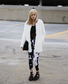 Forever 21 Chunky Sandals, Chicwish Faux Fur Jacket, Gypsy Warrior Semi Sheer Crop Top