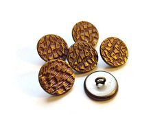 Vintage Button Lot  6 faux fur metal buttons faux by yippeevintage (Craft Supplies & Tools, Sewing & Needlecraft Supplies, Buttons & Fasteners, Buttons, Vintage Button Lot, faux fur buttons, faux feather buttons, shank buttons, button destash, destash lot, matching buttons, steampunk buttons, stamped buttons, faux bark buttons)