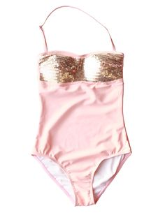 The Holly is sure to turn heads with its gold sequins and pleasing peach  pink hue. It is fully lined with removable padding and removable straps.  Trust me, this one is a must!