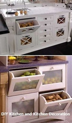 15 Insanely Cool Ideas for Storing Fresh Produce Storing fresh produce correctly and safely is also a great way to save your money and food. Tomatoes, potatoes, garlic, onions and … Diy Kitchen Storage, Kitchen Cabinet Organization, Kitchen Pantry, Home Decor Kitchen, Kitchen Furniture, New Kitchen, Home Kitchens, Kitchen Cabinets, Kitchen Ideas