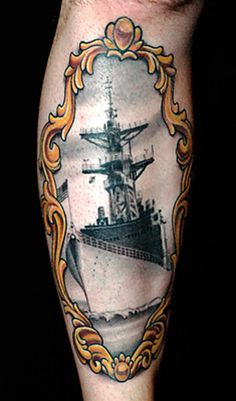 traditional ship tattoo | ink dagger tattoo parlor tattoo by russ abbott