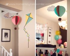 Hot air balloon and kite decor at themed birthday party. #kite#party#decorations