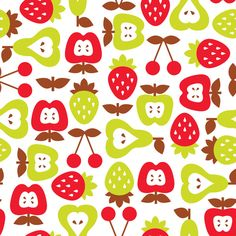 Shabby Chic Fruits Pattern Art Print: A nice tone of the colours combined. and nicely placed together