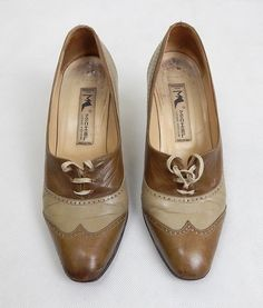 1970s Vintage Taupe Leather Heeled Brogues UK Size 3   Vintage Shoes   Vintage Shoes UK   Vintage Shoes Online   Vintage Brogues   Shoes Online