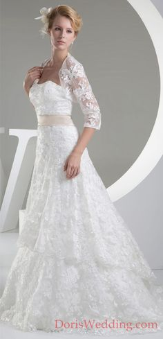 Beautiful Strapless A Line Wedding Dress With Jacket and Lace Appliques  Browse our best wedding dresses collection from #DorisWedding.com 2016 dress style collection, free custom made service of any dress design & free shipping! #DorisWedding.com