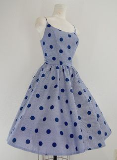 PARTY DOLL 1950s vintage blue Polka dot on gingham Dress, with full skirt and sleeveless.