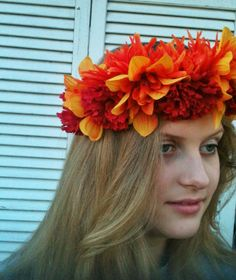 Red and Orange Floral Crown Flower Headband by JenaDelFey on Etsy, $18.00