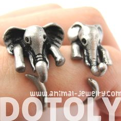 African Elephant Animal Wrap Around Ring in Silver - Sizes 6 to 10.5 Available