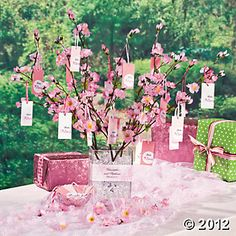 Cherry Blossom Wishing Tree: Vase, Ribbon, Tags, Cherry Blossom Stems, and Plastic Crystals.