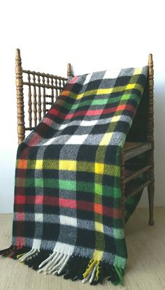 Vintage Mid Century Black Plaid Camp Blanket with fun pop colors| lime green, black, red, yellow, white | colorful wool blanket with fringe by CarliBeardsleyStudio on Etsy