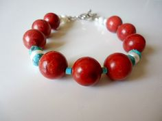 Red Sponge Coral Turquoise Bracelet by shawnlacydesigns