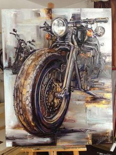 I find it appropriate to see a motorcycle painted with oils.  Leads to the original artist are appreciated- reverse searching didn't t...