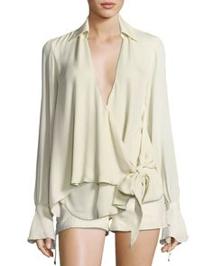 Haute Hippie Stagecoach Long-sleeve Tie-front Silk Blouse In Antique White Tie Front Blouse, Silk Wrap, Haute Hippie, Silk Ties, Shirt Style, Clothes For Women, Long Sleeve, Sleeves, Neiman Marcus