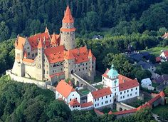 Bouzov Castle, located between the village of Hvozdek and the town of Bouzov, west of Litovel, Moravia, Czech Republic.