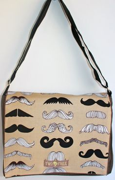 I want this bag!!! Heather Brown MUSTACHE Party MeSSENGER ipad by twotreedesigns, $27.99