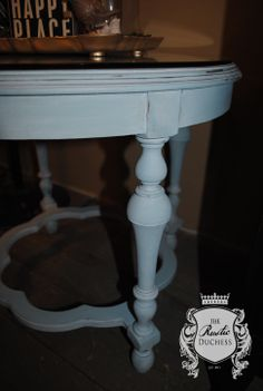 Round antique side table with glass top done in #MaisonBlanchePaint Robins Egg and finished with Chalk White Lime Wax.  #LimeWax #ShabbyChic #Furniture