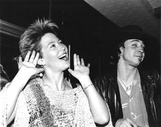 Kathy Valentine and Stevie Ray Vaughan, cute look on Stevie's face :)