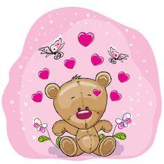 Teddy Bear with flowers vector illustration