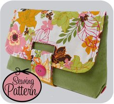 Another cute Keyka Lou - strap clutch pattern Purse Patterns, Pdf Sewing Patterns, Sewing Tutorials, Sewing Crafts, Sewing Projects, Bag Tutorials, Clutch Pattern, Diy Sac, Fabric Bags