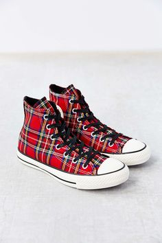 Conserve Chuck Taylor All Star Red Tartan Women's High-Top Sneakers