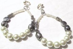 Handcrafted  Clip On Earrings  White Pearl Beaded by ChelleStore, $9.50