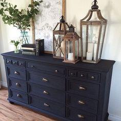 Ideas Farmhouse Foyer Decor Dressers For 2019 Black Bedroom Furniture, Bedroom Black, Dark Furniture, Refurbished Furniture, Colorful Furniture, Rustic Furniture, Furniture Makeover, Furniture Nyc, Furniture Stores