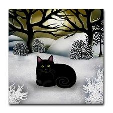 Items similar to BLACK CAT Winter Sunset Art Ceramic Tile Coaster optional frame on Etsy Cat Embroidery, Cool Cats, I Love Cats, Black Cat Art, Black Cats, Black Kitty, Black Cat Painting, Frida Art, Image Chat