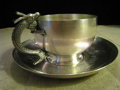 Asian solid silver Dragon handle  cup & saucer / Japanese or korean?