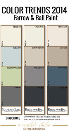Color Trends 2014 || Farrow & Ball Paint || Dimensional colors, perfect for a calming interior.