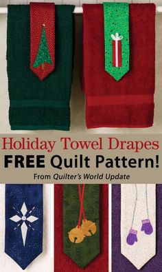 Holiday Towel Drape Download from Quilter's World newsletter. Click on the photo to access the free pattern. Sign up for this free newsletter here: AnniesNewsletters.com.