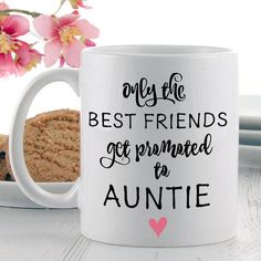 Searching for a Pregnancy Announcement Gift? Shop our 'Only the Best Friends Get Promoted to Auntie' gift mug, ideal for breaking the news to your closest pal!