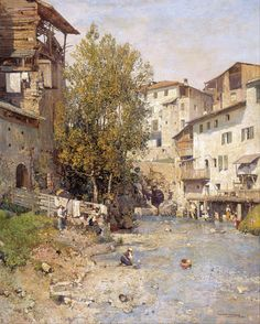 Eye Candy: Landscape by Mariano Barbasan. Lines and Colors: http://linesandcolors.com/2014/12/05/landscape-with-a-village-on-the-outskirts-of-rome-mariano-barbasn/