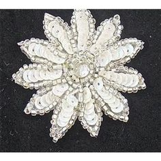 Flower with White Sequins and Rhinestone 2""