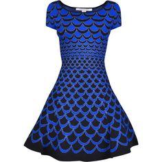 Diane Von Furstenberg Metallic Acorn Dress ($380) ❤ liked on Polyvore featuring dresses, short dresses, drop waist dress, mini dress, print skater dress, metallic skater dress and bodycon cocktail dress