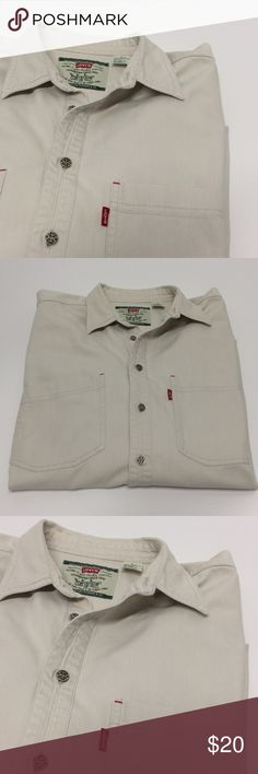 Men's LEVI'S Tan Denim Button Down Shirt Men's LEVI'S Tan Denim Button Down Shirt - red-tab signature logo - modern authentic by Levi's - true quality - double pocket front - long sleeve - size large Levi's Shirts Casual Button Down Shirts