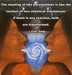 The meeting of two personalities is like the contact of two chemical substances: If there is any reaction ~ both are transformed ☼ Carl Jung Sacred Feminine, Divine Feminine, C G Jung, Twin Souls, A Course In Miracles, Spiritual Awakening, Spiritual Symbols, Spiritual Growth, Mother Earth