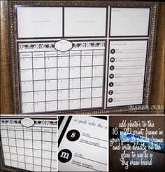 Use a picture frame with glass like a dry erase board!  I can totally make this to keep my family organized!