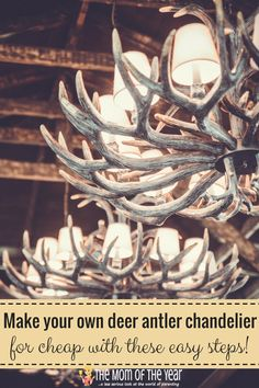 Love the rustic decor look? A DIY Deer Antler Chandelier is the perfect accent piece for your home! Store-bought versions can be PRICEY, but with these 6 easy how-to steps, you can make your own without the hefty price tag--and it's way easier than you th Deer Antler Chandelier, Antler Wreath, Chandelier Makeover, Diy Chandelier, Antler Crafts, Antler Art, Deck Makeover, Deer Horns, Rustic Decor