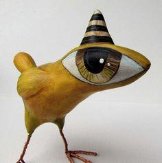 Paper Mache Art Sculpture Jake A Big Eyed Bird by Fishstikks, $52.00