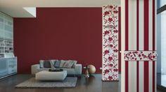 blockstreifen tapete rot wei mit ca 9 cm. Black Bedroom Furniture Sets. Home Design Ideas