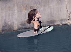 As exímias pinturas hiperrealistas do surfista Hula sobre uma prancha de stand up paddle - Follow the Colours