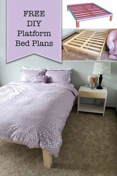 Build this simple DIY platform bed for your home!! This platform bed is a minimalist's dream and it fits in perfectly with the new and trending BoHo decor style. | Pretty Handy Girl | #prettyhandygirl #diyplatformbed #diybedframe #diytutorial #platformbed #boho #bohostyle #bohodecor #minimalist Building Furniture, Diy Furniture Projects, Handmade Furniture, Diy Wood Projects, Repurposed Furniture, Diy Platform Bed Plans, Platform Bed Frame, Cool Woodworking Projects, Teds Woodworking