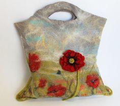 Felted Handbag With a Poppy Brooch