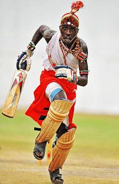 "A member of the Maasai Cricket Warriors, the subject of the documentary ""Warriors"""