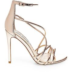 Steve Madden Women's Satya Stilettos Heels ($80) ❤ liked on Polyvore featuring shoes, pumps, rose gold, strappy stilettos, patent pumps, strappy shoes, stilettos shoes and patent leather shoes