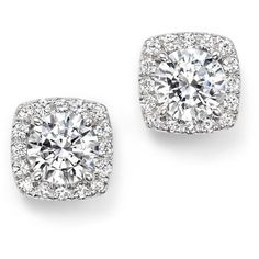 Certified Diamond Halo Stud Earrings in 14K White Gold, 2.30 ct. t.w. ($12,245) ❤ liked on Polyvore featuring jewelry, earrings, white, stud earrings, bloomingdales earrings, bloomingdales jewelry, white gold earrings and 14k earrings