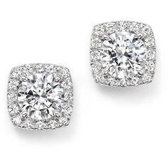 Certified Diamond Halo Stud Earrings in 14K White Gold, 1.70 ct. t.w. ($13,350) ❤ liked on Polyvore featuring jewelry, earrings, white, glitter stud earrings, pave earrings, white gold jewelry, bloomingdales earrings and 14k earrings