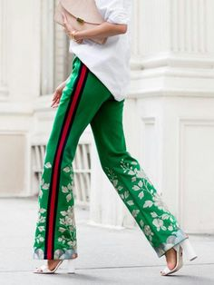Gucci sporty chic green pants